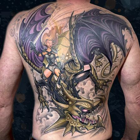 Tattoos - Dragon & Warrior - 142396