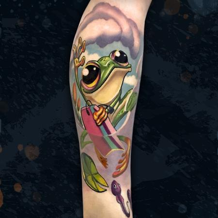 Tattoos - Boogie Boarding Frog - 142581