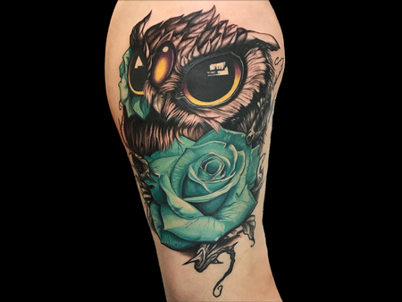 Tattoos - Owl with Rose - 140680