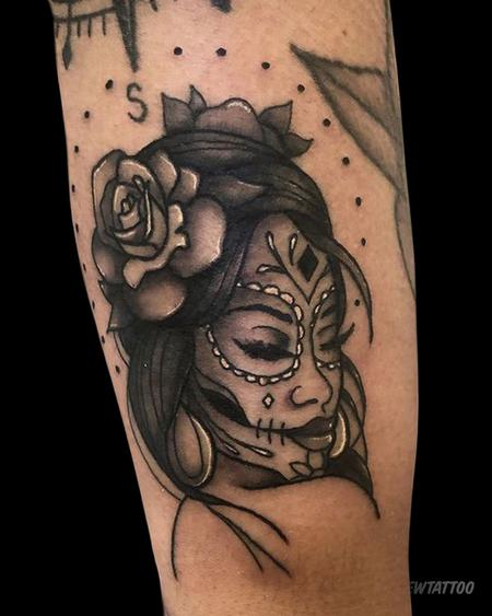 Sugar Skull Gal Tattoo Design Thumbnail