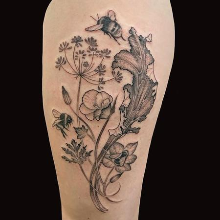 Tattoos - Rhubarb, Okra, and Bees - 141484