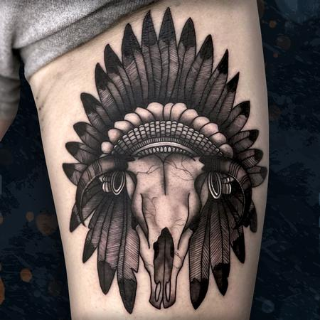 Bull Skull with Headdress Tattoo Design Thumbnail