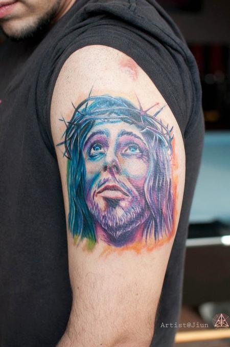 Tattoos - Color Realistic Jesus Tattoo - 60500