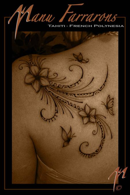 Tattoos - Flower and butterflies  - 68964