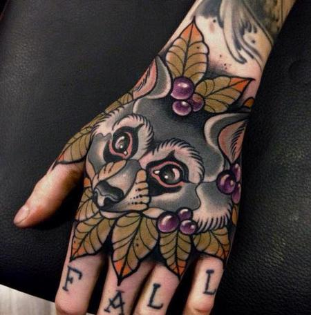 Tattoos - Neo Traditional Racoon Tattoo - 130972