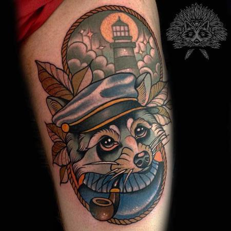 Tattoos - Neo Traditional Nautical Racoon Tattoo - 130973