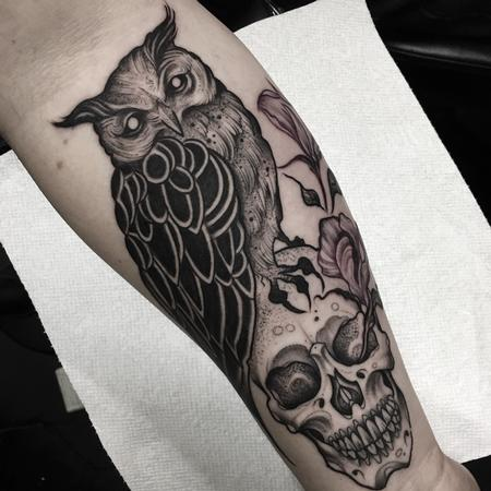 Tattoos - Blackwork Owl and Skull - 120315