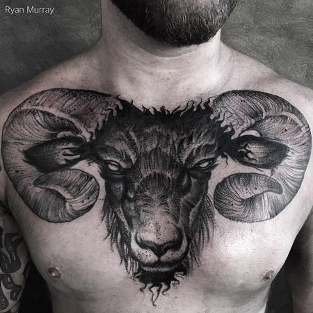 Tattoos - Blackwork Goat - 120447