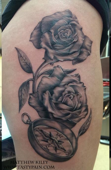 Tattoos - rose compass - 92186