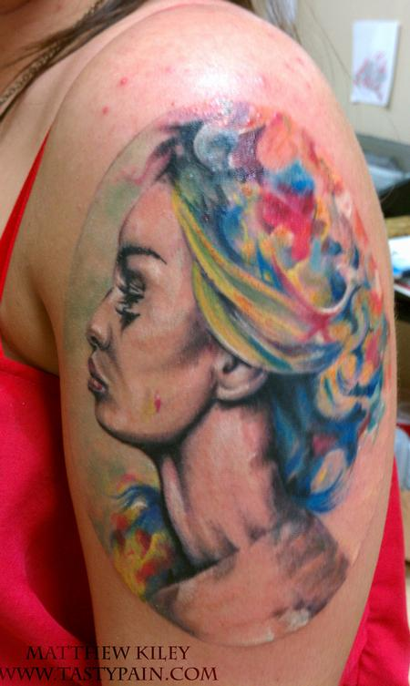 Tattoos - watercolor portrait - 91922