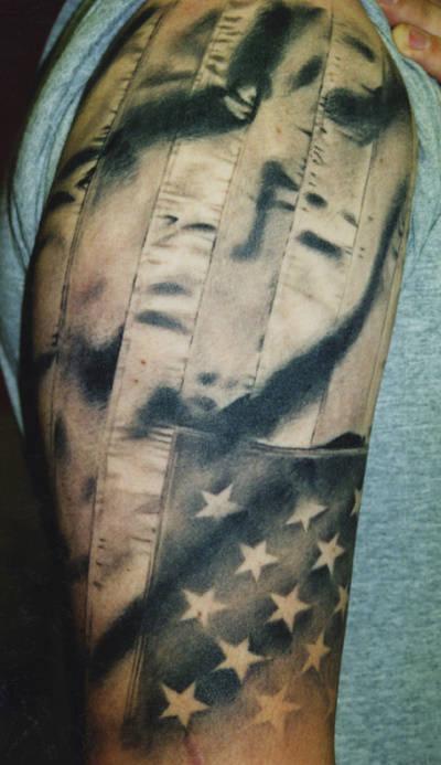 Tattoos - American Flag Tattoo - 55250