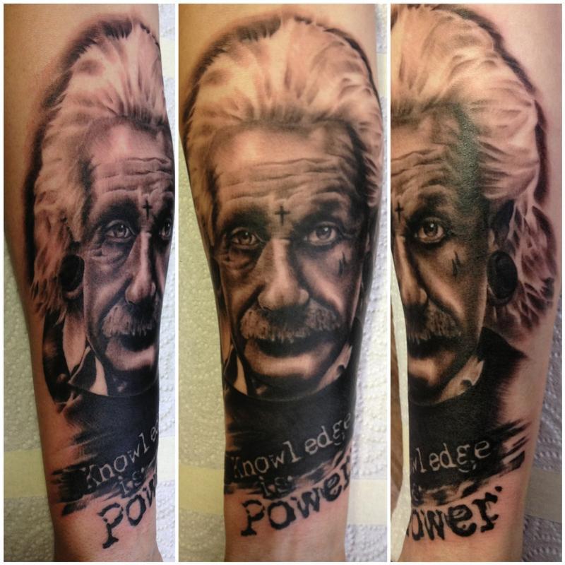 Albert Einstein Tattoo By Dean Lawton Tattoonow