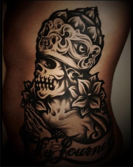 Tattoos - custom black gray skull tattoo - 52003