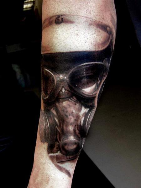 Tattoos - Realistic Gas Mask Tattoo - 67632