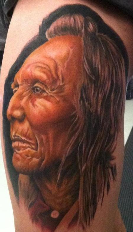 Tattoos - Native American Realistic Portrait Tattoo - 67633