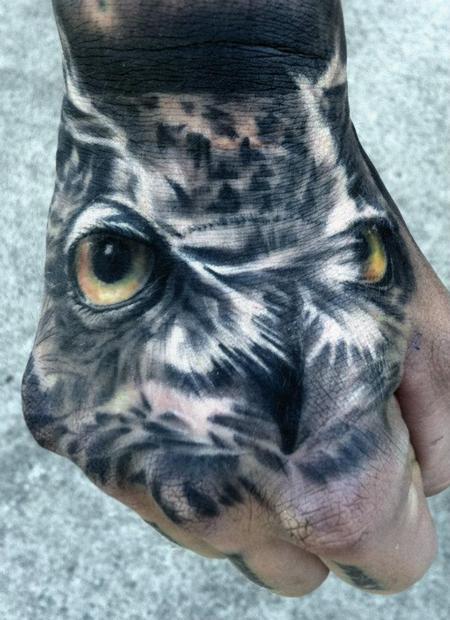 Tattoos - Realistic Owl Hand Tattoo - 67641