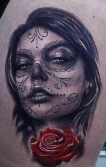 Tattoos - Photo-Realistic Day of the Dead Woman - 67645