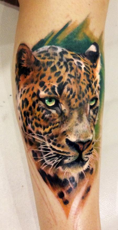 Tattoos - Color Leopard Tattoo - 75563