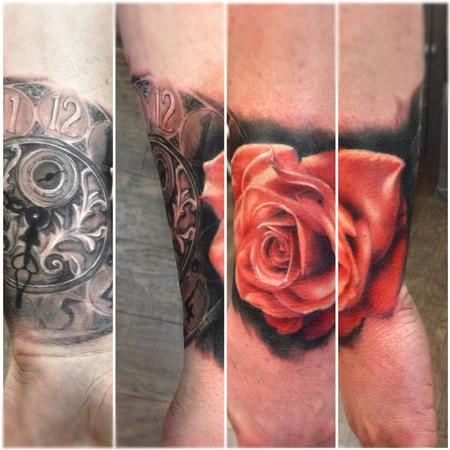 Tattoos - Red rose and clock tattoo - 75562