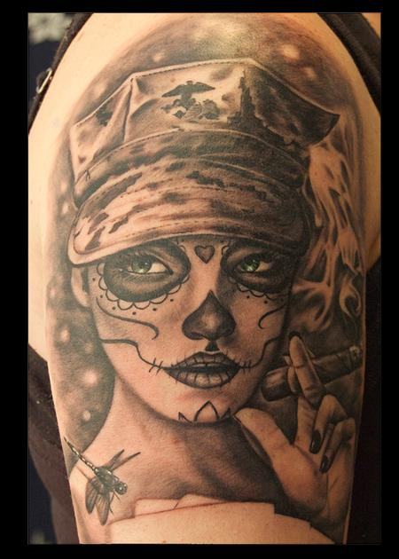 Tattoos - Black and Gray Day of the Dead Tattoo - 115159