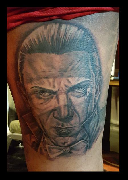 Tattoos - Black and Gray Dracula Tattoo - 115160