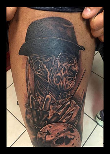 Tattoos - Freddy Krueger Black and Gray Tattoo - 115162