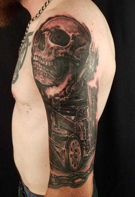Mike Christie - big rig and skull half sleeve