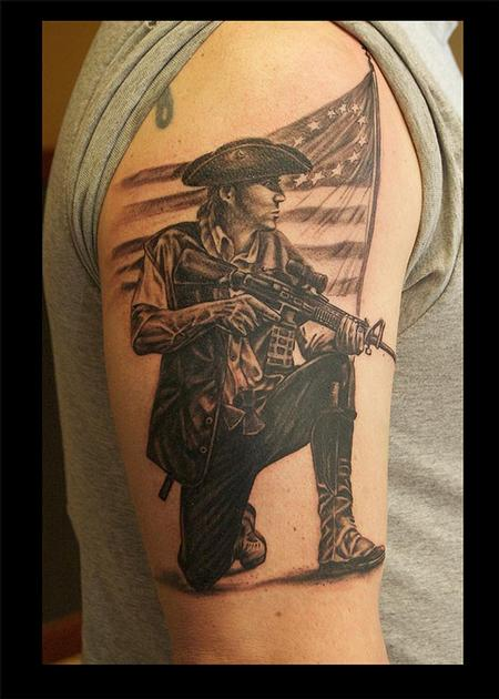 Tattoos - Black and Gray Minuteman Tattoo - 115164