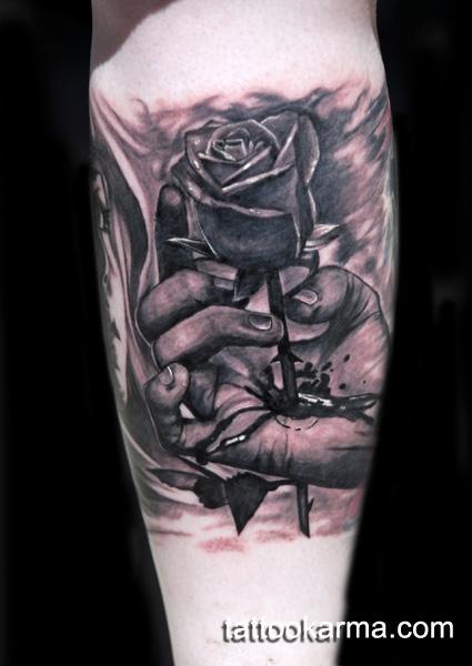 Tattoos - rose through arm - 101137