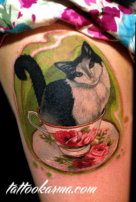 Tattoos - Cat in the cup - 81081