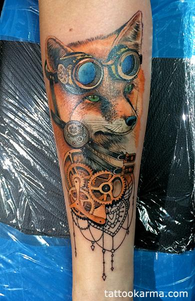 Micle Andersson - Fox steampunk tattoo