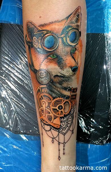 Tattoos - Fox steampunk tattoo - 104709