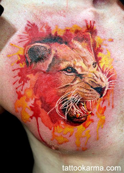 Tattoos - watercolor lion - 101072