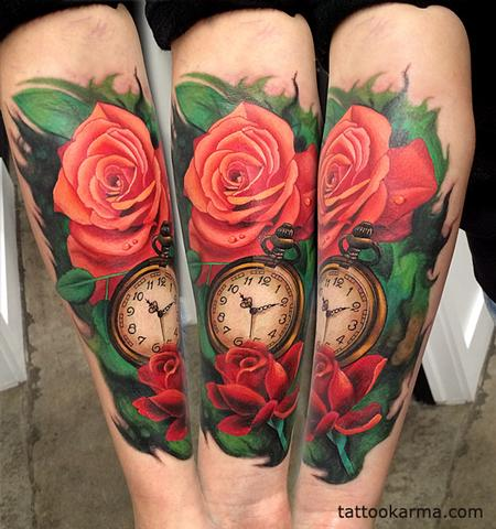 Tattoos - roses pocketwatch - 104632