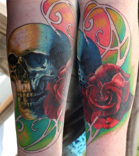 Tattoos - SKull and rose - 79611