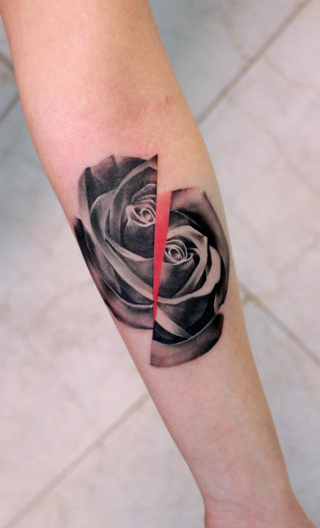 Tattoos - split rose - 117752