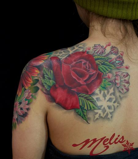 Tattoos - Flowers and negative snowflakes - 82492