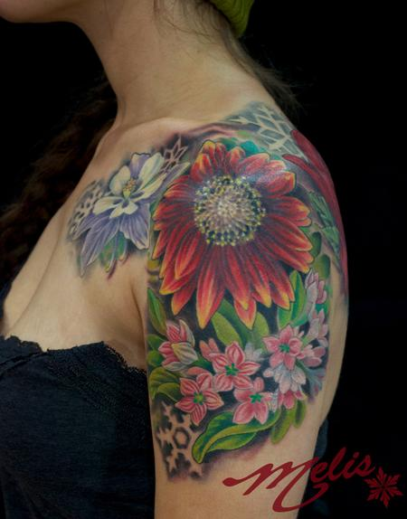Tattoos - Flowers and negative snowflakes - 82493