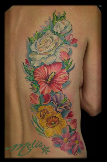 Tattoos - foral back peice - 76878