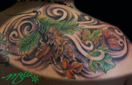 Tattoos - Douglas Fir and Maple leaves - 78683