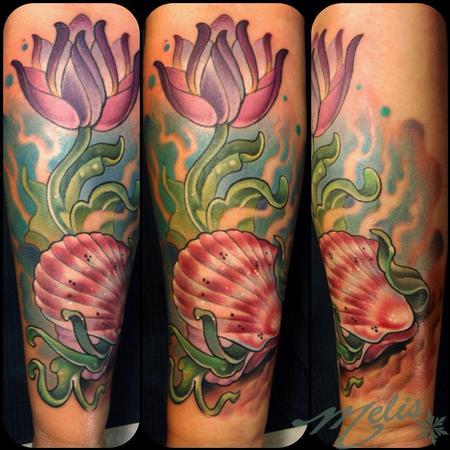 Tattoos - budding scallop shell - 94619