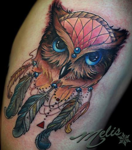 Tattoos - owl dream catcher - 94620