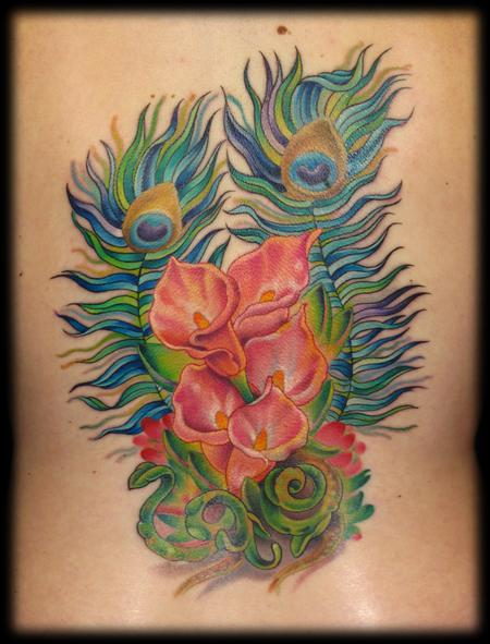 Tattoos - peacock feathers and calla lilies  - 59874