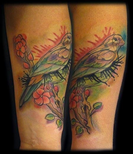 Tattoos - virgina's watercolor bird - 60412