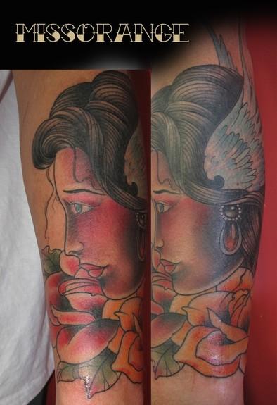Miss Orange - Traditional Girl tattoo