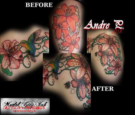 Tattoos - Tiger lily hummingbird - 132112