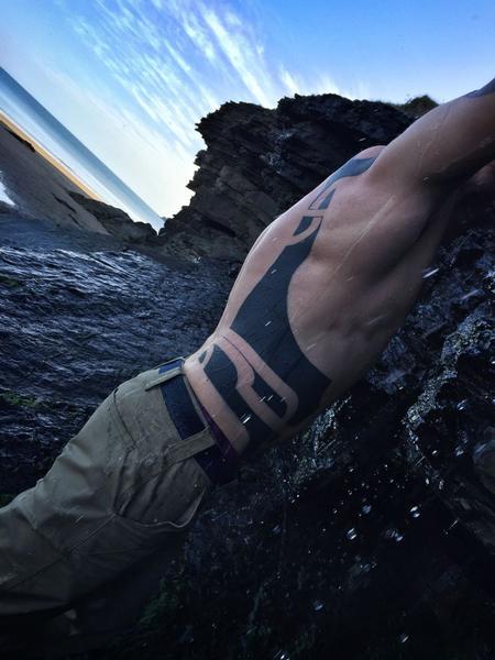 Tattoos - Abstract Blackwork Side Tattoo - 115370