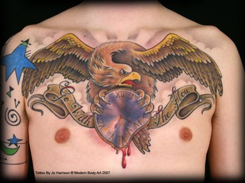 Tattoos - Color eagle chestpiece - 35492