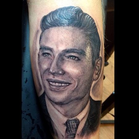 Cesar Perez Tattoos - black and grey old picture portrait done by cesar pere from Keene ,NH