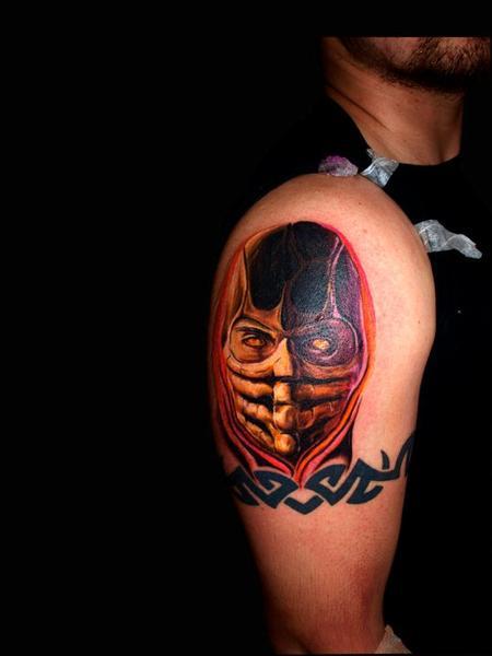 Tattoos - scorpion mortal kombat color tattoo portrait - 72534
